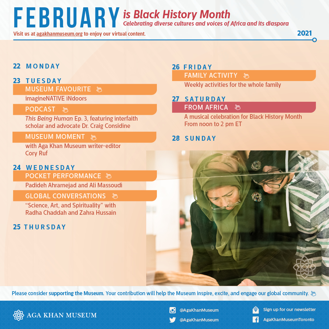 A calendar of #MuseumWithoutWalls programming and events for the week of February 22, 2021.