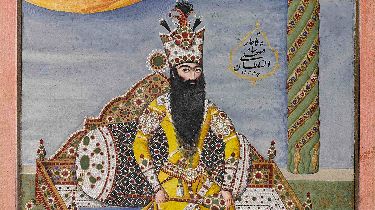 Illustration of Fath 'Ali Shah Qajar with a long beard seated on a jewelled throne wearing a royal yellow robe
