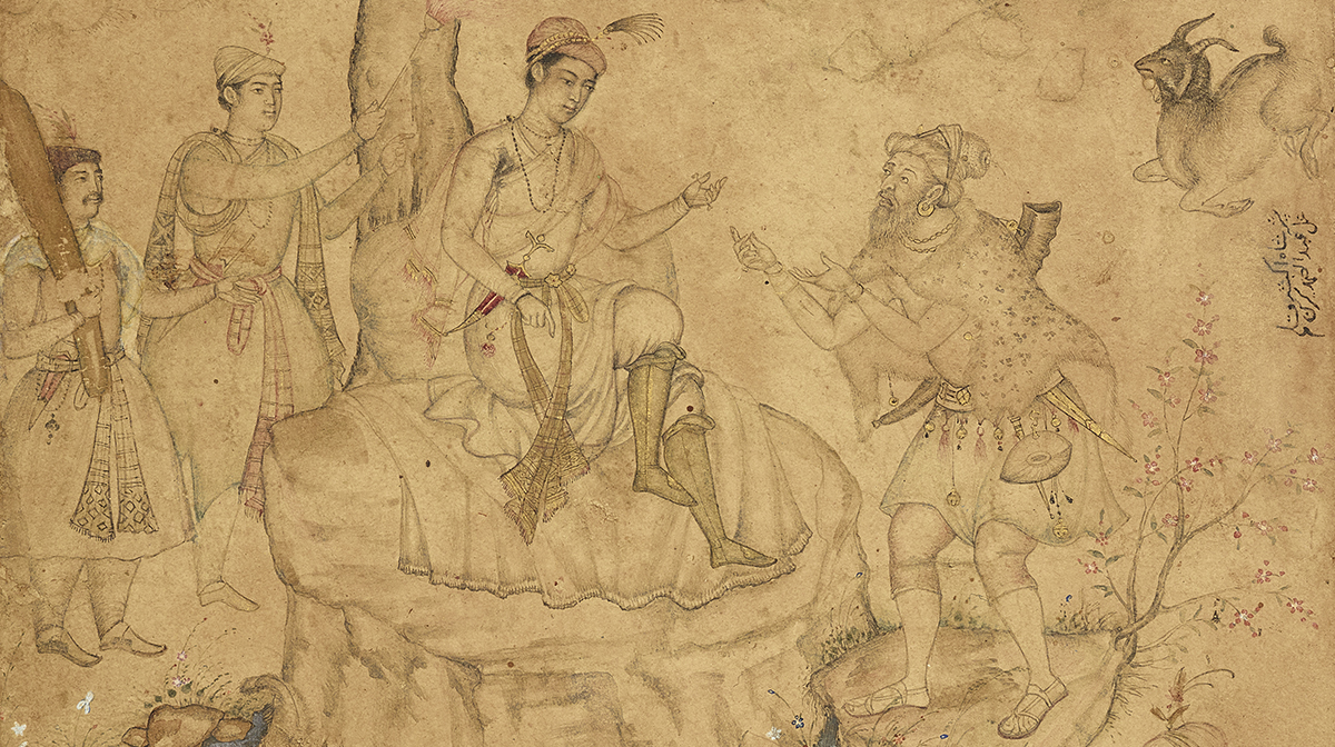 A painting by 'Abd al-Samad using opaque watercolours on ink paper to show a sage-like dervish wearing an animal-skin cloak gesturing to a young emperor, who is seated atop a rocky outcrop.