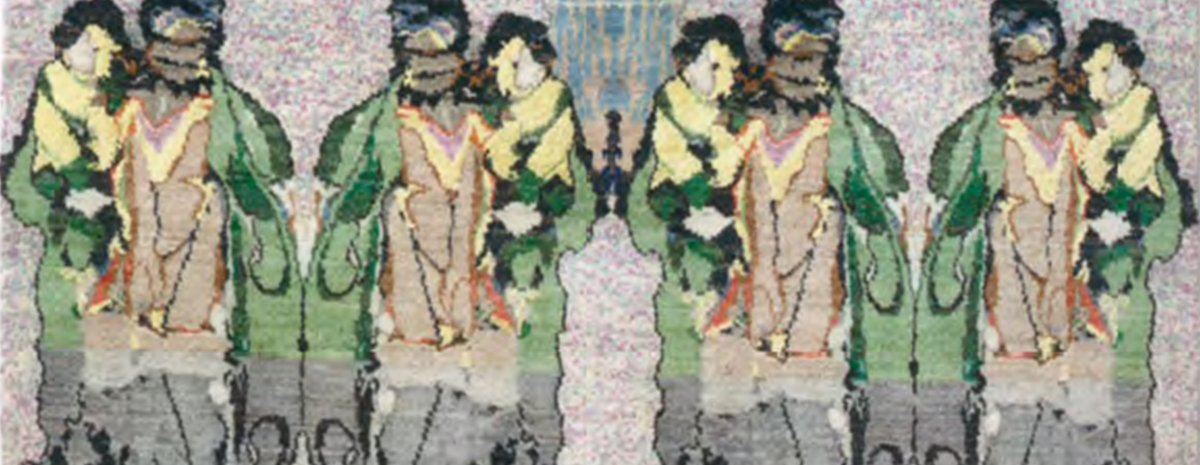 Two sets of mirrored images of an adult carrying a child.