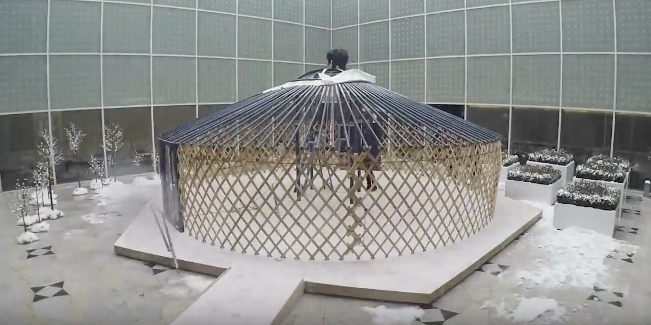 Behind the Scenes: Installation of the Mongolian Yurt