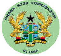 "Ghanaian Coat of Arms surrounded by the words: ""Ghana High Commission Ottawa"""