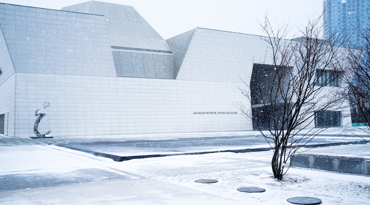 The west façade of the Aga Khan Museum in winter.