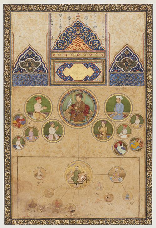 Separate paintings and illuminated panels mounted onto new folio, depicting two genealogies of selected male figures from the house of Jahangir, the fourth emperor of Mughal India. Images of the male figures are depicted in small round portraits.