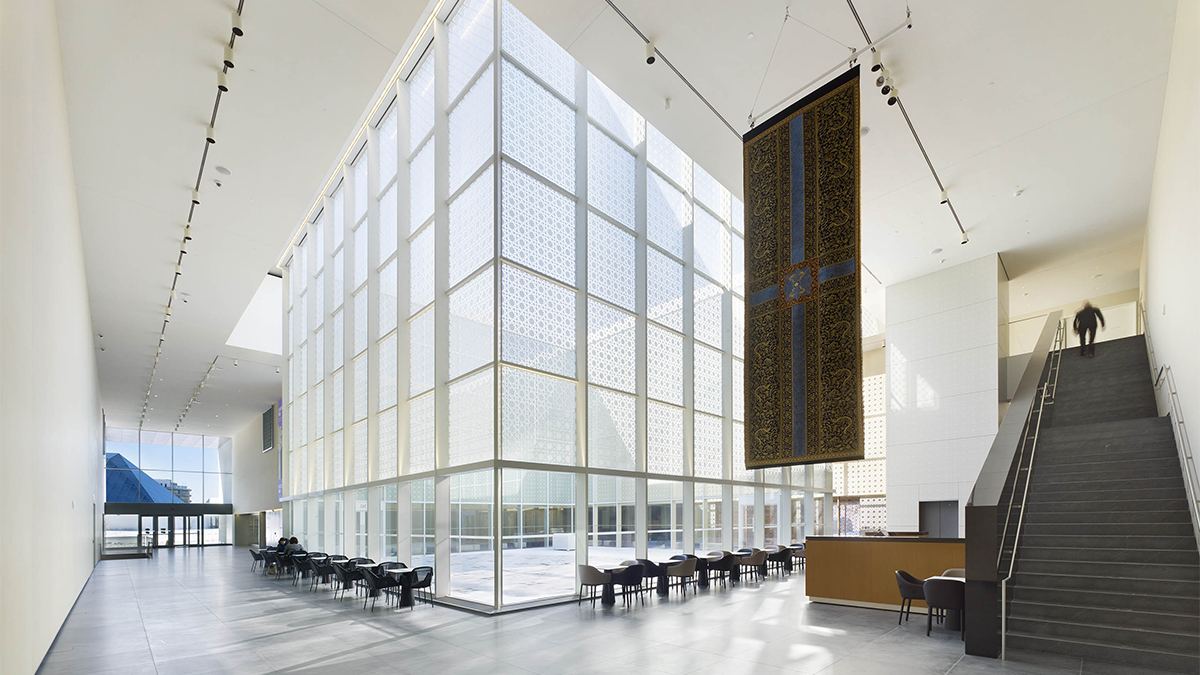 A west-looking view of the Aga Khan Museum's atrium space.