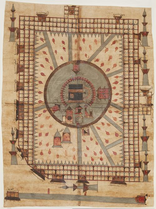 Two-dimensional birds eye painting of Mecca, depicted in a simple colour palette with concentric organization. Small black inscriptions label relevant architectural elements and buildings.