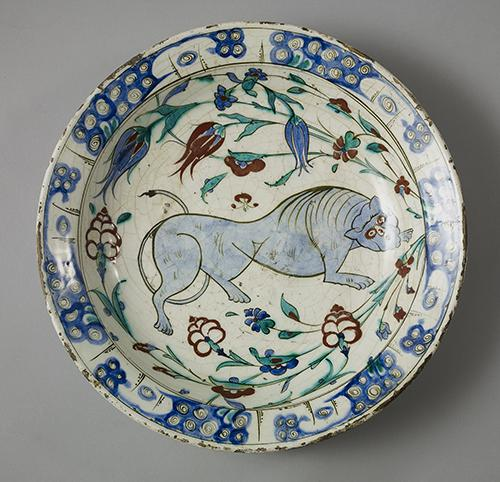 AKM811, Dish with Blue Lion and Tulips