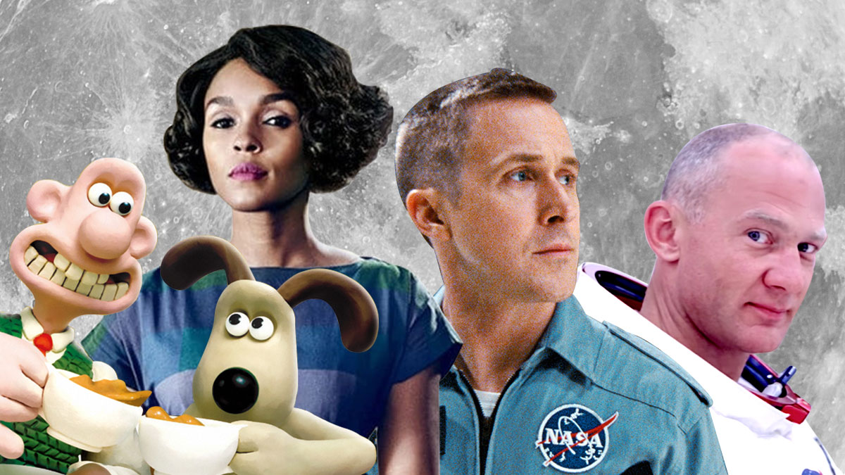 A collage of Wallace and Gromit, Janelle Monae, Ryan Gosling, and Buzz Aldrin against the moon.