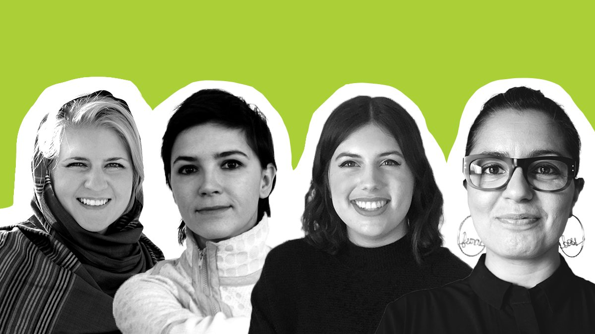 The faces of Lauryn Oates, Azra Akšamija, Alia Youssef, and Meera Sethi against a green background.