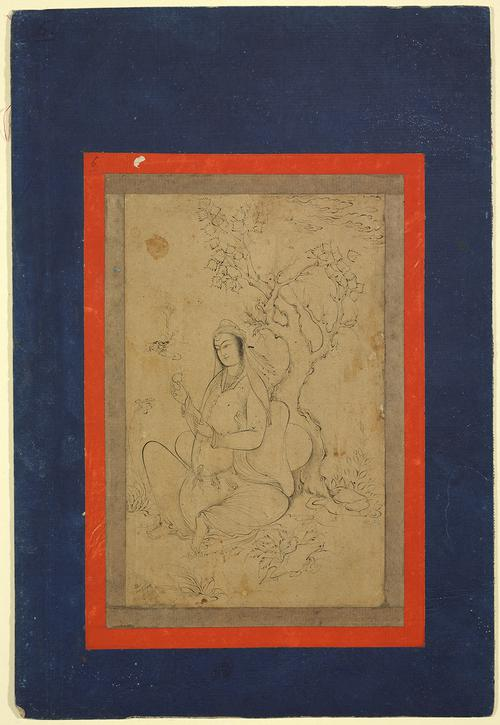 Drawing of a lady seated under a gnarled tree, holding a pear in her right hand while she inspects an iris. The drawing is set inside a thin red boarder, on a larger dark blue page.