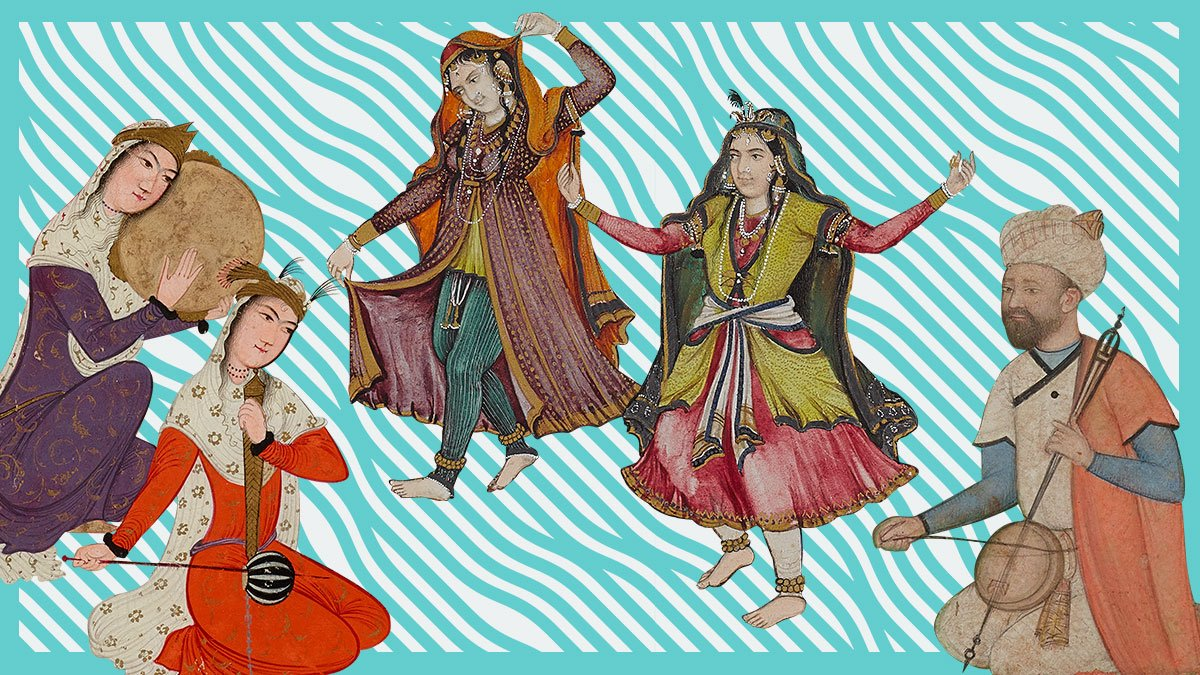 A digital collage of dancing figures, clipped from the Museum's illustration and painting folio.