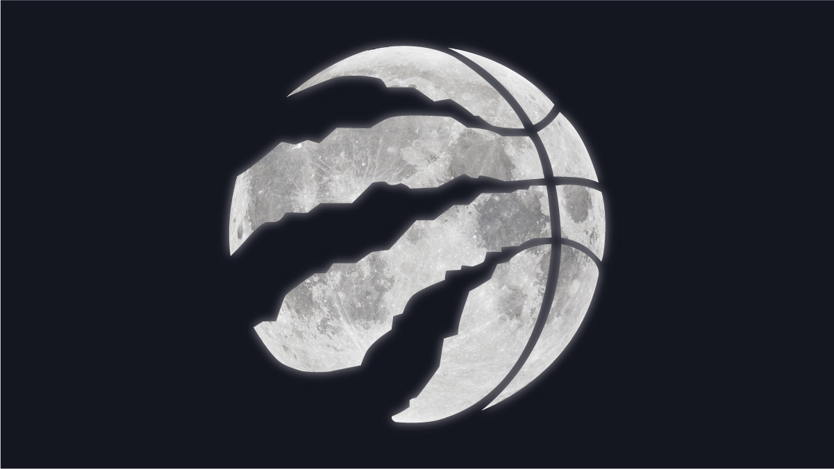The Raptors claw logo superimposed over the moon in the night sky.