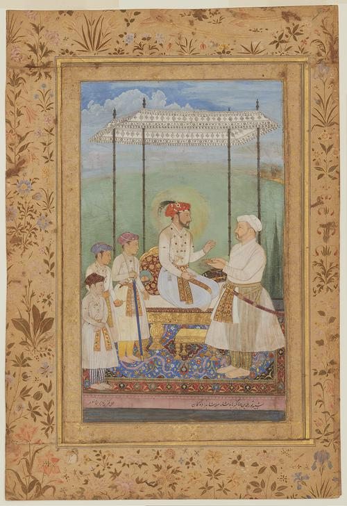 Royal family portrait, of an Emperor, sitting in haloed profile upon a gold-footed throne under a high white canopy in an outdoor landscape, accepts a jewelled gift from his father-in-law. At his right are his three eldest sons. A large gold boarder surrounds the painting, featuring floral decoration.