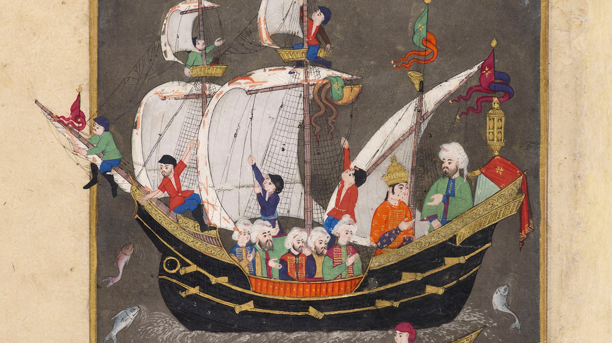 In a manuscript painting from 16th-century Turkey, sailors adjust pulleys and masts on a sailboat at sea.