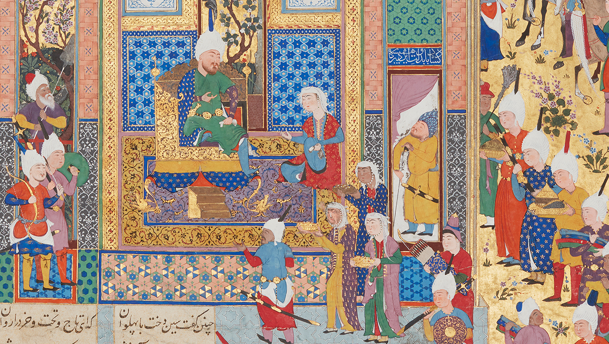 A 16th-century Iranian painting of a woman kneeling in a palace presenting gifts to a man seated on a throne.