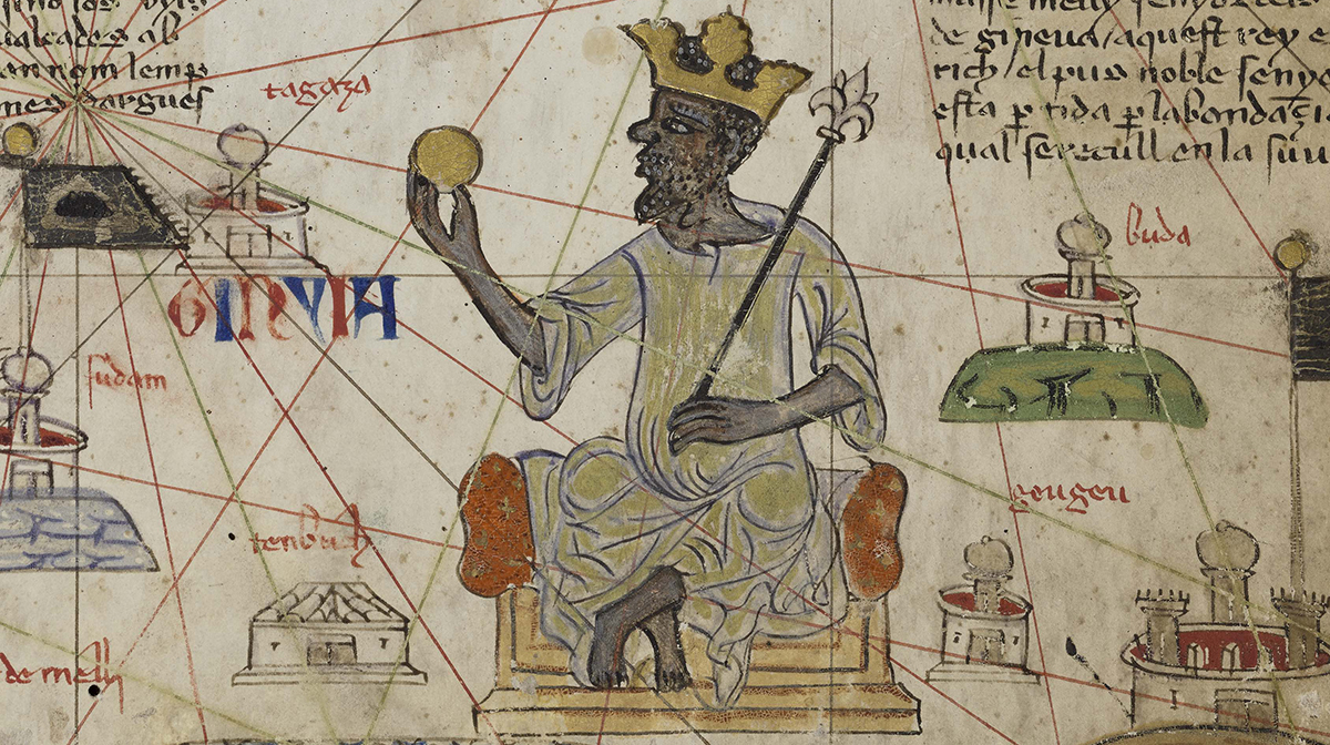 A medieval diagram featuring emperor Mansa Musa holding a nugget of gold, surrounded by Arabic text and drawings of places.