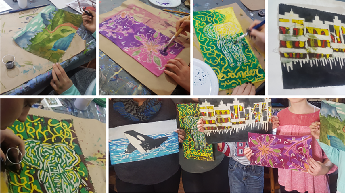 A photo collage of people in a Modern Batik Workshop, focusing on the different styles of work created in the session.