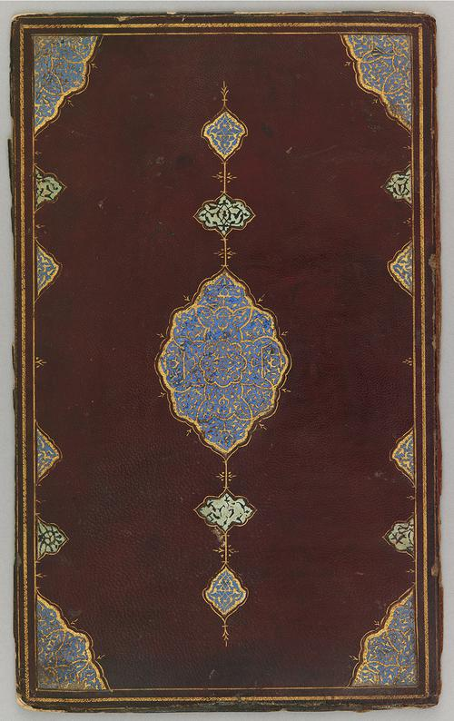 Back cover of Iranian bookbinding of mahogany-coloured leather. Thin spiral golden border. Large blue medallion motif in the centre with fine golden work. Similar blue motif is repeated in each inner corner of the border.
