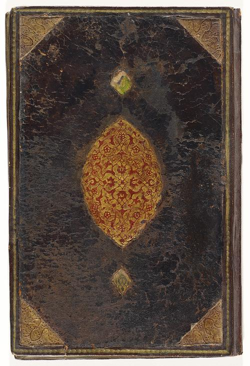 Front cover of Iranian bookbinding, overlayed with dark brown leather which appears to be very worn out. Golden spiral border with triangular gold patterns on inner corners. Large gold gilt embossed medallion motif in the centre inlaid with delicate red floral patterns.