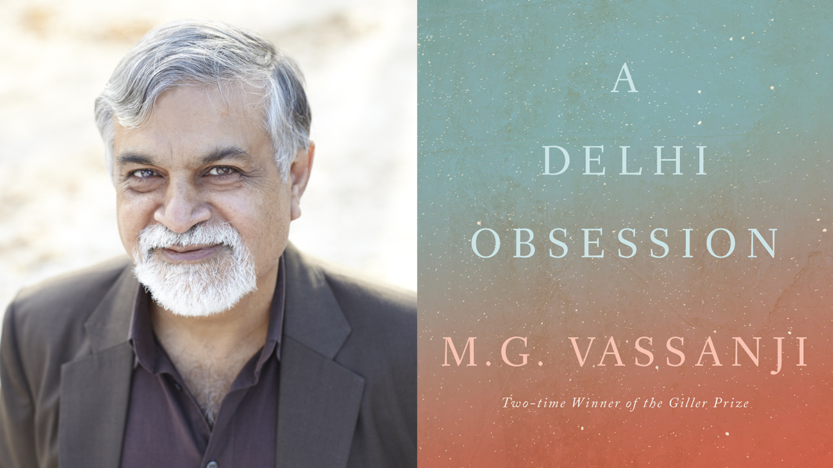 Portrait of author M.G. Vassanji with book title overtop a gradient multicoloured background.